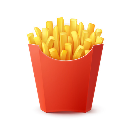 fattening: Vector Potatoes French Fries in Red Carton Package Box