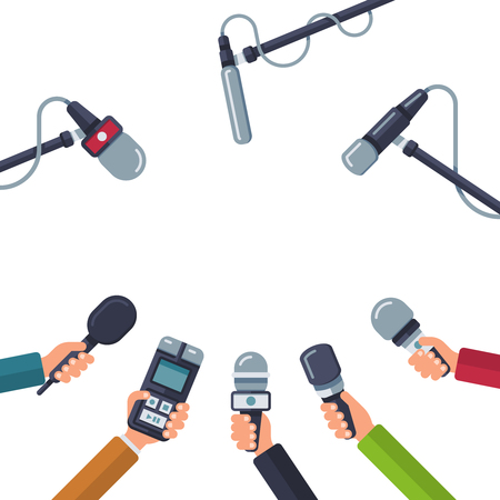 Hands holding microphones, press conference vector concept Illustration