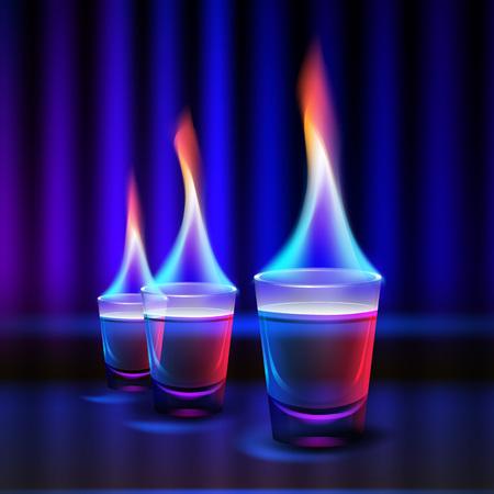 shots alcohol: Burning alcohol shots Illustration
