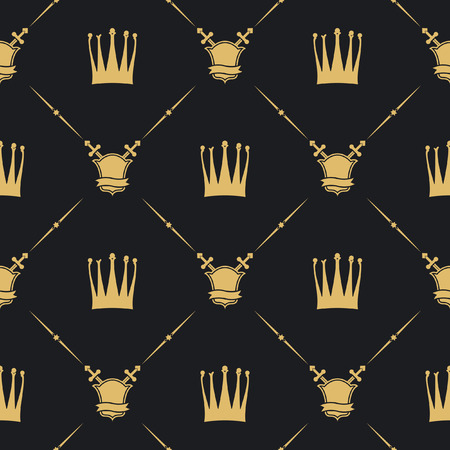 Crown with sword and shield seamless pattern 版權商用圖片 - 76389726