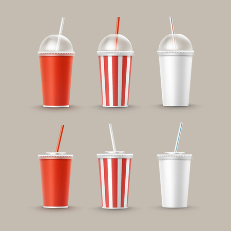 Vector Set of Paper Cups For Soft Drinks