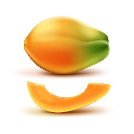 half: Whole and slised papaya Illustration