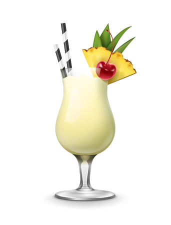Vector Pina Colada cocktail garnished with maraschino cherry, pineapple wedge, striped black and white straw tubes isolated on background
