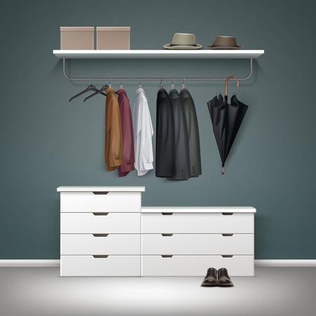 coat rack: Wardrobe room interior Illustration