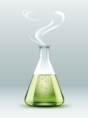 poison bottle: Steaming laboratory flask
