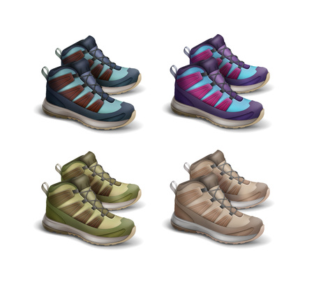 Set of colored travel sneakers Illustration