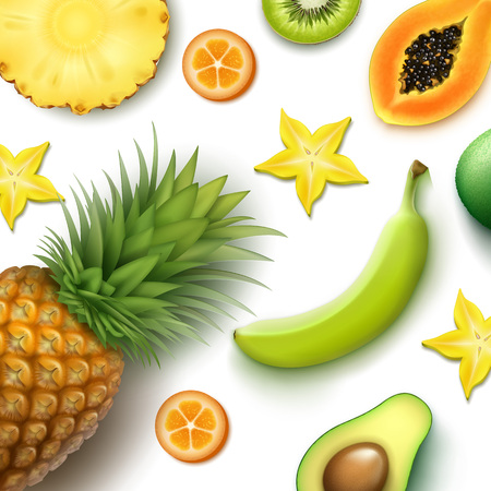 summer fruits backdrop illustration Illustration