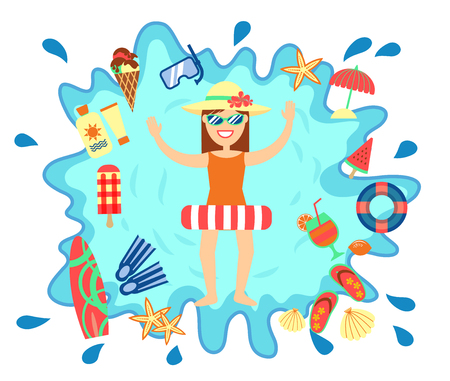 Beach summer splash fun concept