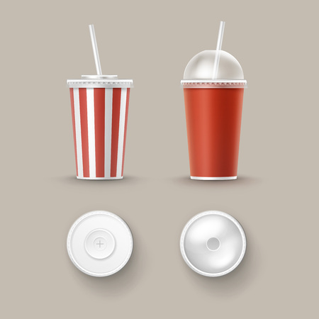 Vector Set of Cups For Soft Drinks
