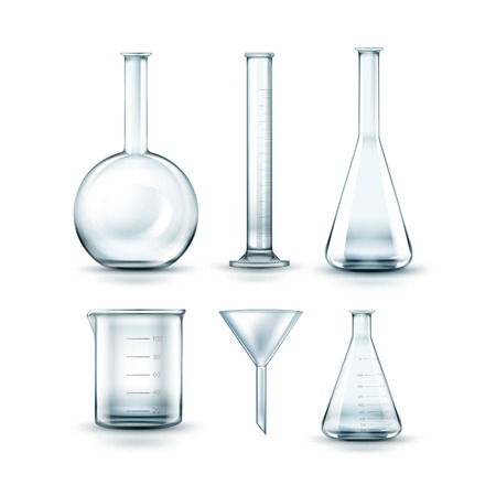 distilling: Glass laboratory flasks Illustration