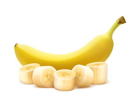 tastes: Whole and chopped banana Illustration