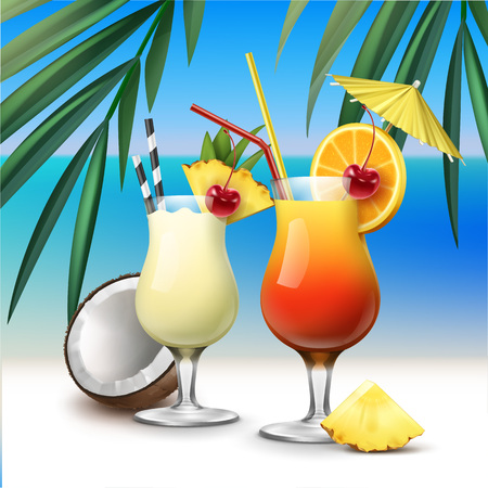 Tropical cocktails Tequila Sunrise and Pina Colada Vectores