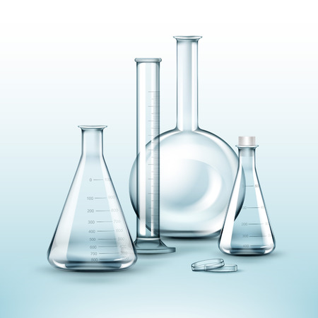 distilling: Vector set of transparent glass chemical laboratory flasks, test tube isolated on background