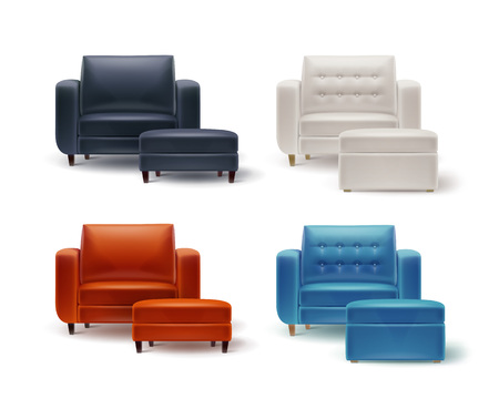 Vector set of white, orange, brown, black, blue armchairs with padded stools front view isolated on white background