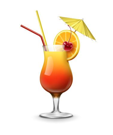 벡터 데 킬 라 선 라이즈 칵테일 maraschino 체리, 신선한 오렌지, 파티 우산과 흰색 배경에 고립 된 빨강, 노랑 짚 튜브와 garnished