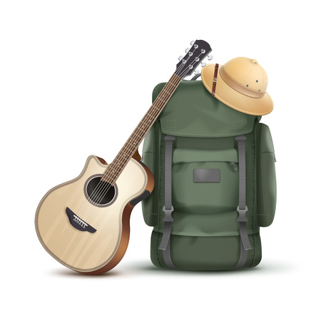 expeditionary: Backpack with hat and guitar