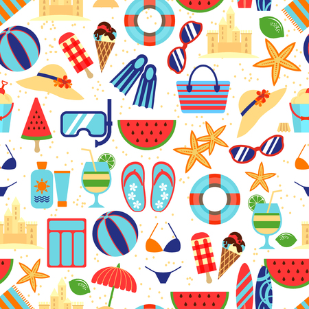 Summer beach pattern with umbrella and starfish, sunglasses sandcastles Illustration