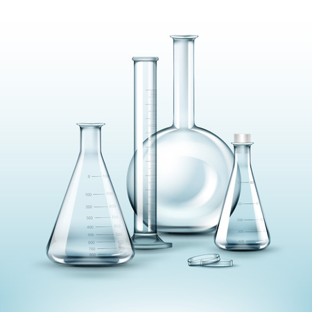 distilling: Different chemical flasks
