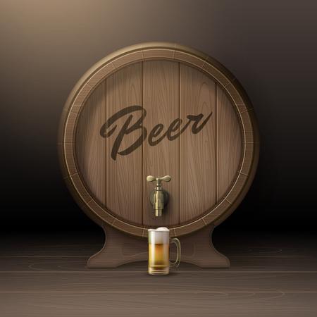 stopcock: Wooden beer barrel Illustration