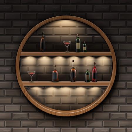 Round wooden shelves