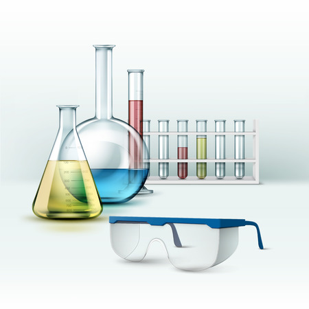 Laboratory flasks with glasses