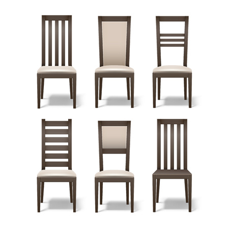 wood chair: Set of wooden chairs Illustration