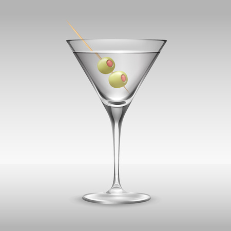 toothpick: Vector glass of Martini garnished with two olives on toothpick side view isolated on background