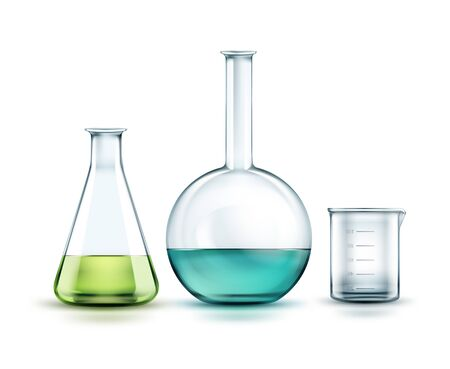 distilling: Vector transparent glass chemical flasks full off green, blue liquid and empty beaker isolated on background