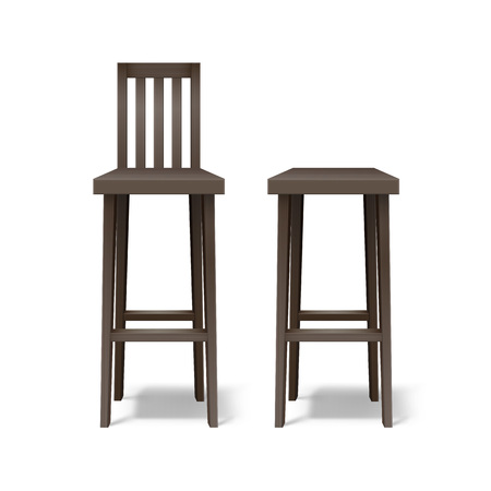 wood chair: Two bar stools Illustration