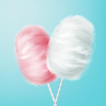 Roze, wit katoen snoep Stock Illustratie