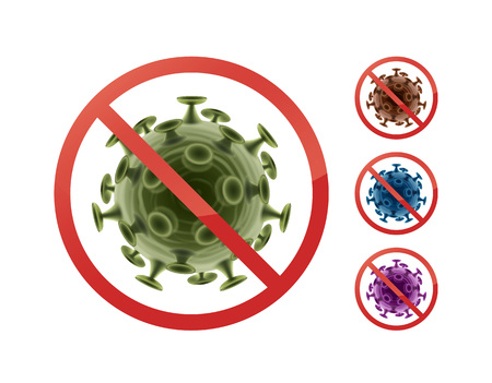 influenza: Stop sign on bacteria Illustration