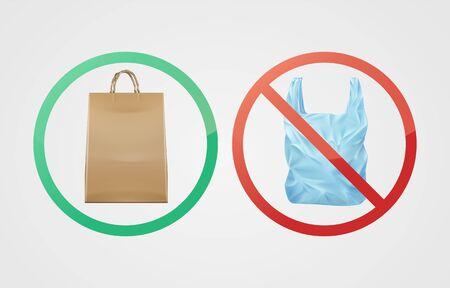 Paper bag against plastic Çizim