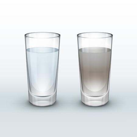 깨끗하고, 더러운 물