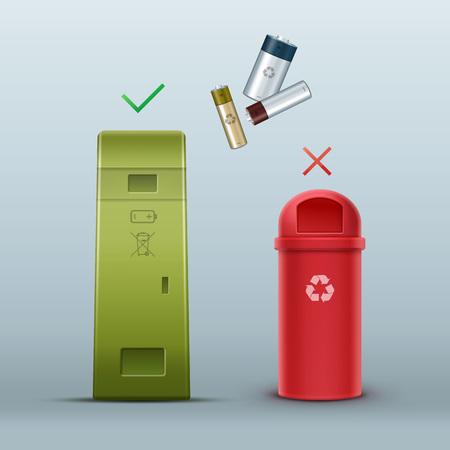 segregation: Proper battery disposal Illustration