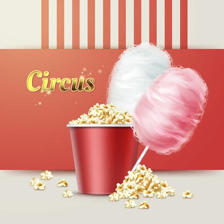 Popcorn mit Zuckerwatte Vektorgrafik