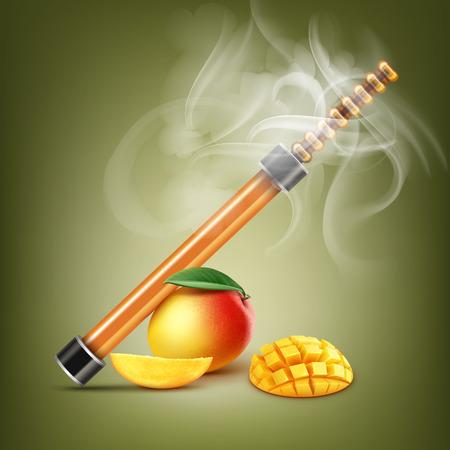 Electronic hookah illustration with mango. Illustration
