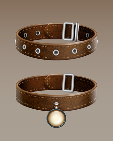 Realistic vector brown leather dog collar for pets isolated on gradient background Stock Vector - 85314220