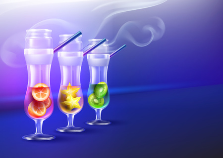Vector set of hurricane glass cocktail hookahs with kiwi, carambola, kumquat, smoke and copyspace front view on blue background