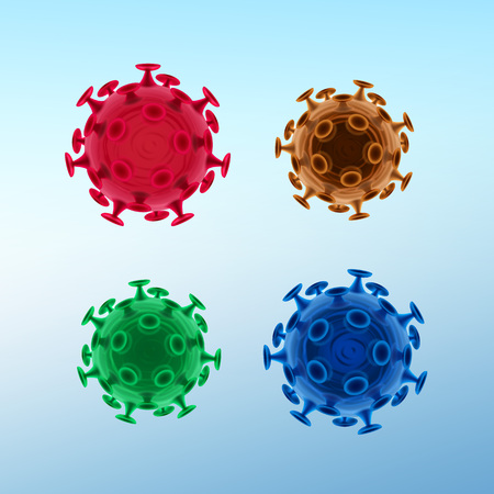 Vector set of common human viruses or bacteria close up isolated on background