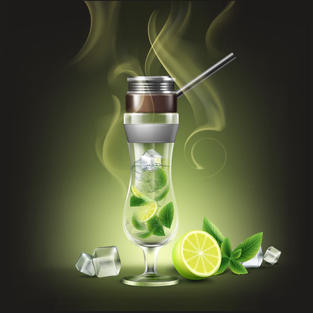 Vector hurricane glass cocktail hookah with lime, mint and smoke front view isolated on dark background
