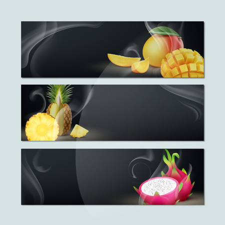 Vector set of empty banners with smoke, mango, pineapple, dragon fruit and black background for hookah tobacco advertising