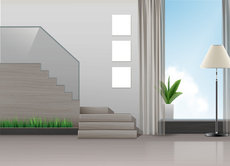 Vector illustration of interior design in minimalist style with staircase, lamp, plants and big window