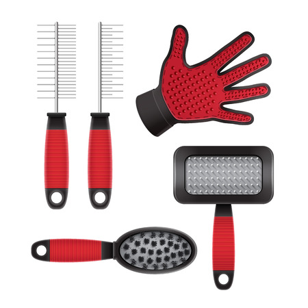 Vector set of cat and dog grooming equipment on white background, top view