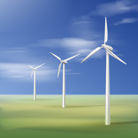 Vector illustration with wind turbines on the green grass over the blue cloudy sky Illustration