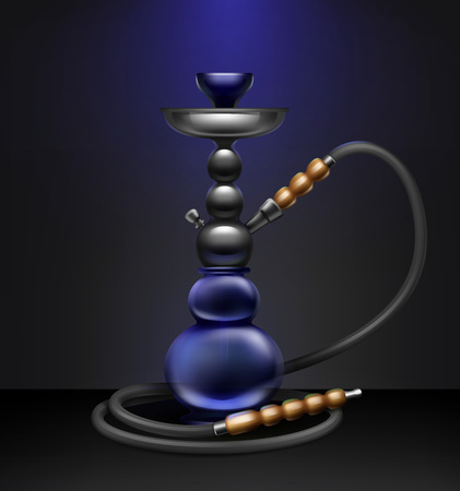 Vector big nargile for tobacco smoking made of metal and blue glass with long hookah hose isolated on dark background