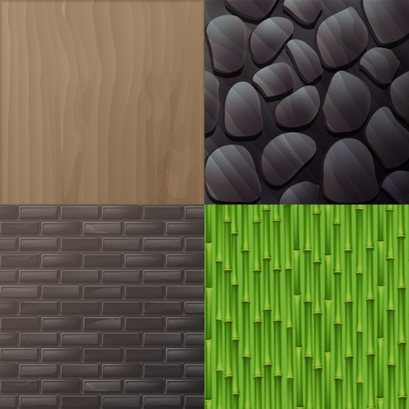Vector set of textures for interior in eco minimalist style: wood, gray brick wall, green bamboo, stone wall.