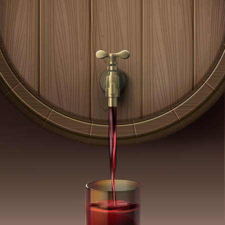 Vector illustration of concept pouring red wine out wooden barrel in glassful, isolated on brown background