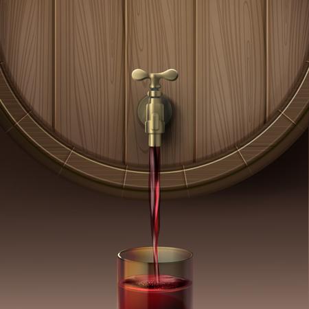 Vectorillustratie die van concept rode wijn uit houten vat in glassful gieten, geïsoleerd op bruine achtergrond