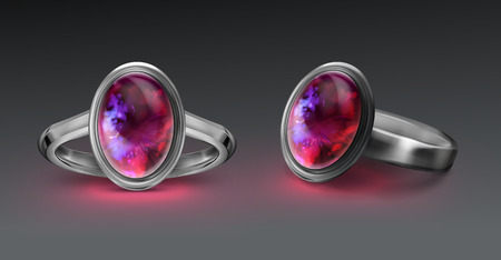 Vector silver ring with bright fire opal isolated on gray background