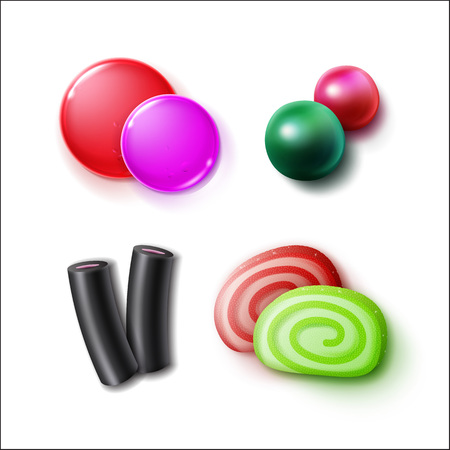 liquorice: Vector set of different pink, green, red, black sweets, candies, bonbons and marmalades close up top view isolated on white background
